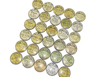 """Apothecary, 1"""", 1.25"""", Button, Apothecary Button, Witch Theme, Witch Decor, Halloween, Party Favor, Flatback, Pinback, Pin, Badge, D002"""