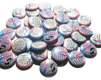 "Pregnancy and Infant Loss Awareness, 1"", 1.25"", Button, Pregnancy Loss, Miscarriage, Infant Loss, Sillbirth, Pink and Blue Ribbon, PAIL, Pin"