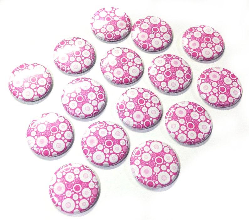 Pink Theme Party Favor Pink Decor Pink Magnet 1.25 1 Pink Dots Pink Pink Locker Magnet BK009 Button Magnet Pink Office Decor