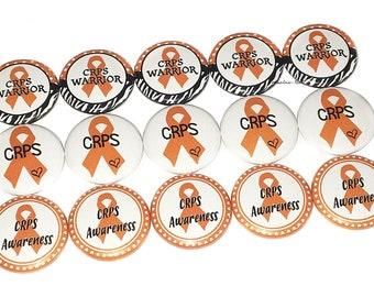 """CRPS, 1"""", 1.25"""", Button, CRPS Awareness, CRPS Ribbon, Crps Theme, Crps Awareness, Orange Ribbon, Crps Supoort, Flatback, Pinback, Pin, CA013"""