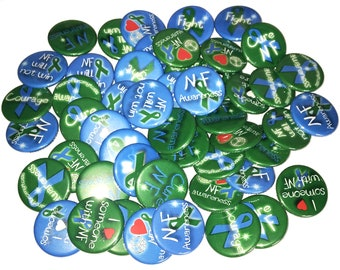 "Neurofibromatosis, NF, 1"", 1.25"", Button, NF Ribbon, Blue Ribbon, Green Ribbon, NF Theme, Nf Awareness, Flatback, Pinback, Pin, Badge, CA040"