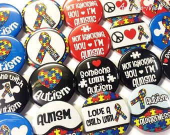 """Autism Buttons, 1.5"""" Buttons, Autistic, Autism Pins, Autistic Buttons, Autism Awareness, Puzzles, Autism Support, Autistic Pins, Pinbacks"""