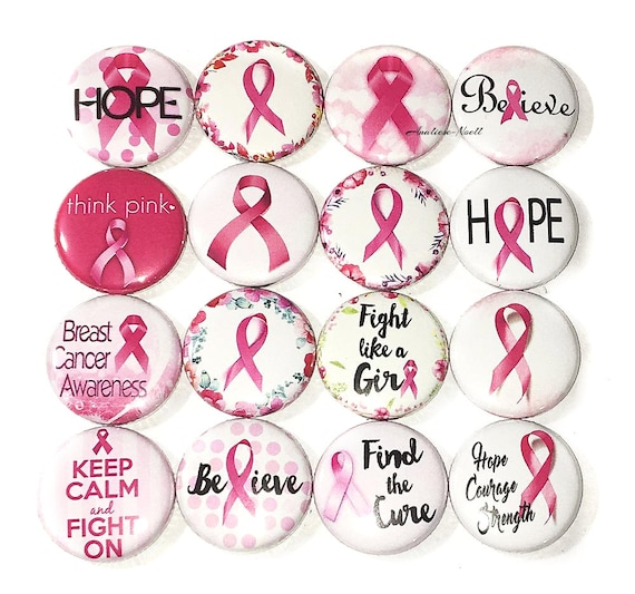 Breast Cancer Awareness Think Pink 1 Inch Buttons Flat//Pin//Magnet//Lapel Set of 5