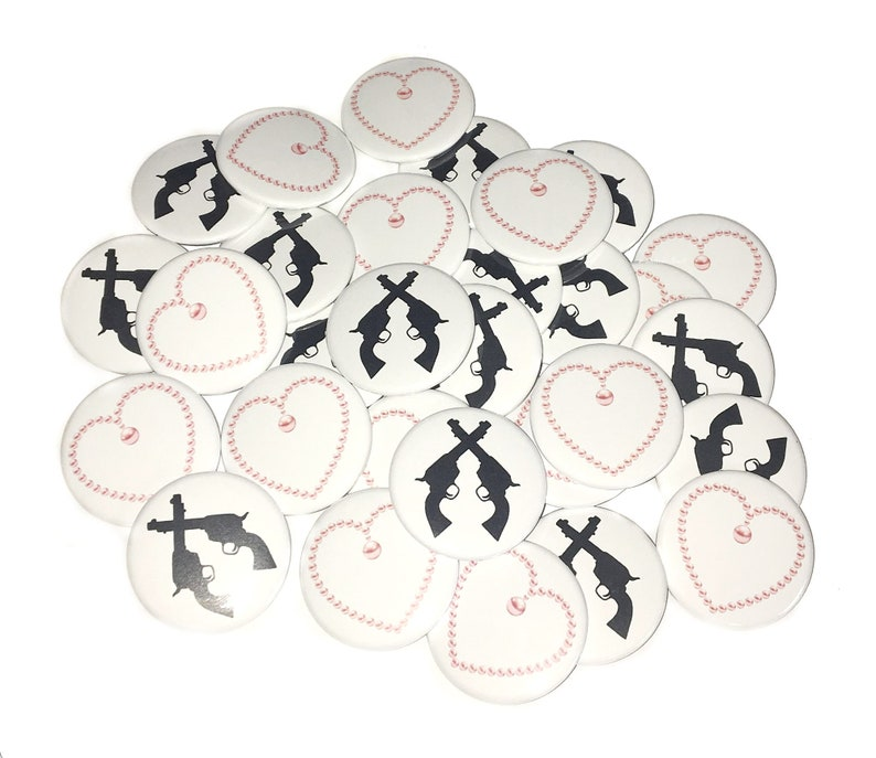 Pearls VB168 Guns 2.25 Pearl Baby Shower Gender Reveal Pistol Baby Shower Baby Shower Pistols VB221 1 1.5 Pinback Button