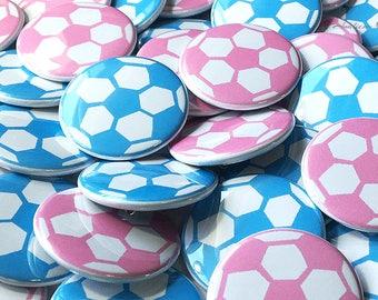 "Gender Reveal, Soccer, Pink, Blue, 1"", 1.5"", 2.25"", Pinback Button, Baby Shower, Futbol, Baby Reveal, Pregnancy Reveal, Boy or Girl, Shower"