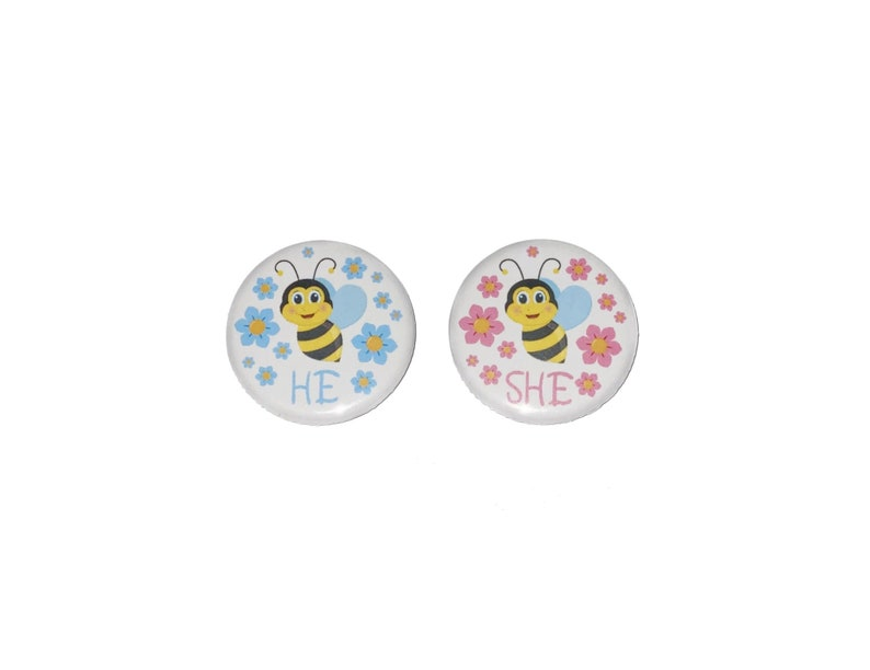 Gender Reveal 1.25 Pinback Button He or She Pink Bee Bee VB359 Ready to Ship Bee Theme 10 Buttons Blue Bee VB397 Imperfect