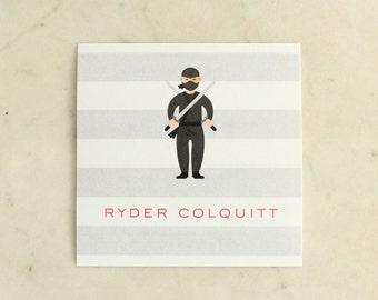 personalized boy / brothers / twin / children's gift stickers - ninja / sword fighter (red and black)