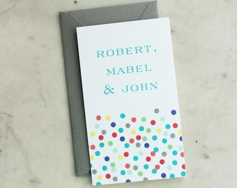 children's calling cards / gift enclosures - confetti (multi-colored, multiple children, sisters or brothers, gender neutral)