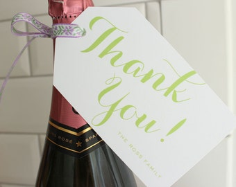 """personalized """"thank you!"""" hostess gift / wine / present / hanging tags - mint green"""