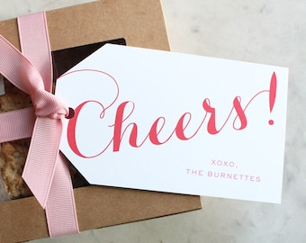 """personalized """"cheers!"""" valentine's / hostess gift / wine / present / hanging family tags - red and pink"""