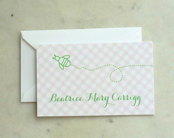 children's calling cards / gift enclosures / present tags - bee / bumblebee (baby girl, girl or sisters) - pink and green gingham