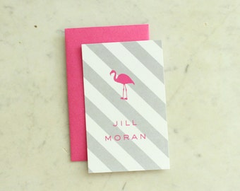 children's calling cards / gift enclosures - pink flamingo (hot pink and grey, girl or sisters)