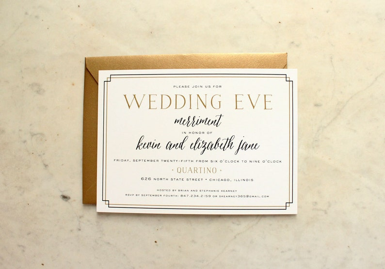 Wedding Eve Party Rehearsal Dinner Welcome Or Shower Invitation