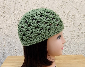 645d987fd41 Solid Olive Green 100% Cotton Lacy Summer Beanie