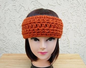 40c5722c CROCHET HEADBAND Ear Warmer Solid Pumpkin Orange Thick Chunky Warm Winter  Wool Women's Simple Basic Knit Head Band, Ready to Ship in 2 Days