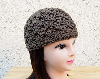 4ed22c78517 Medium Solid Brown 100% Cotton Lacy Summer Beanie