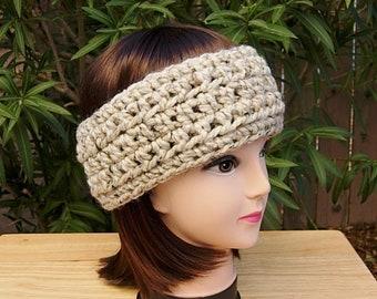 718aa65a Women's Crochet Winter HEADBAND Ear Warmer Oatmeal Beige, Light Brown Thick  Chunky Warm Wool Basic Knit Head Band, Ready to Ship in 2 Days