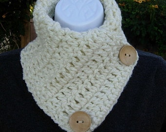 NECK WARMER SCARF Solid Ivory Off-White Cream Natural Wood Buttons Extra Soft Crochet Knit Buttoned Cowl Scarflette..Ready to Ship in 2 Days