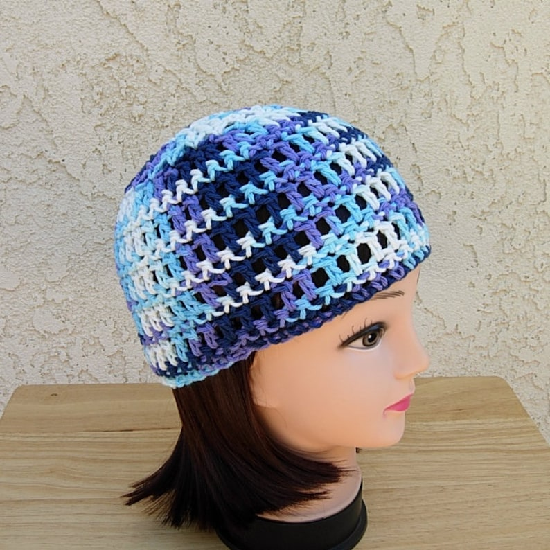 67f6f5224b6 Blue White Purple Summer Beanie 100% Cotton Lacy Skull Cap