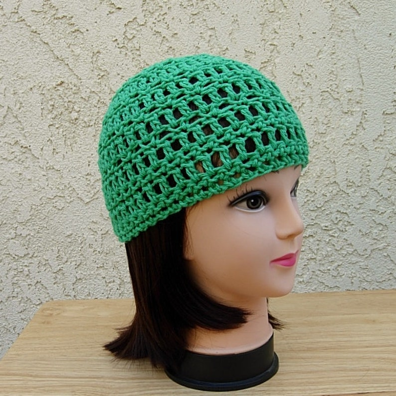 31af71d5932 Solid Green Summer Beanie 100% Cotton Lacy Skull Cap