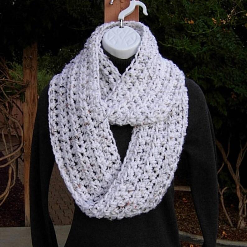 ef7d97c94 White Tweed Women's INFINITY SCARF Extra Soft Loop Cowl | Etsy