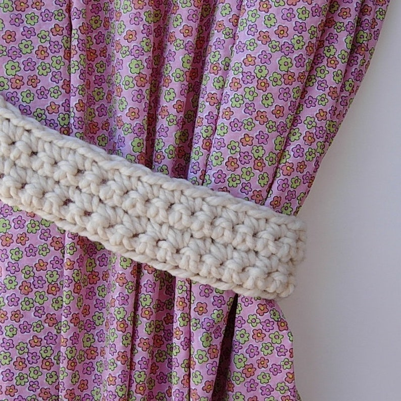 Curtain Tie Backs Handmade Crochet Holders Tiebacks Pair Solid Dark Spice Red