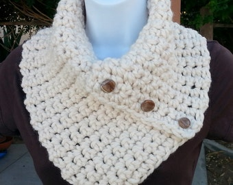 Light Cream NECK WARMER SCARF with Three Buttons, Soft Wool Blend, Solid Off White Winter Chunky Buttoned Cowl..Ready to Ship in 3 Days