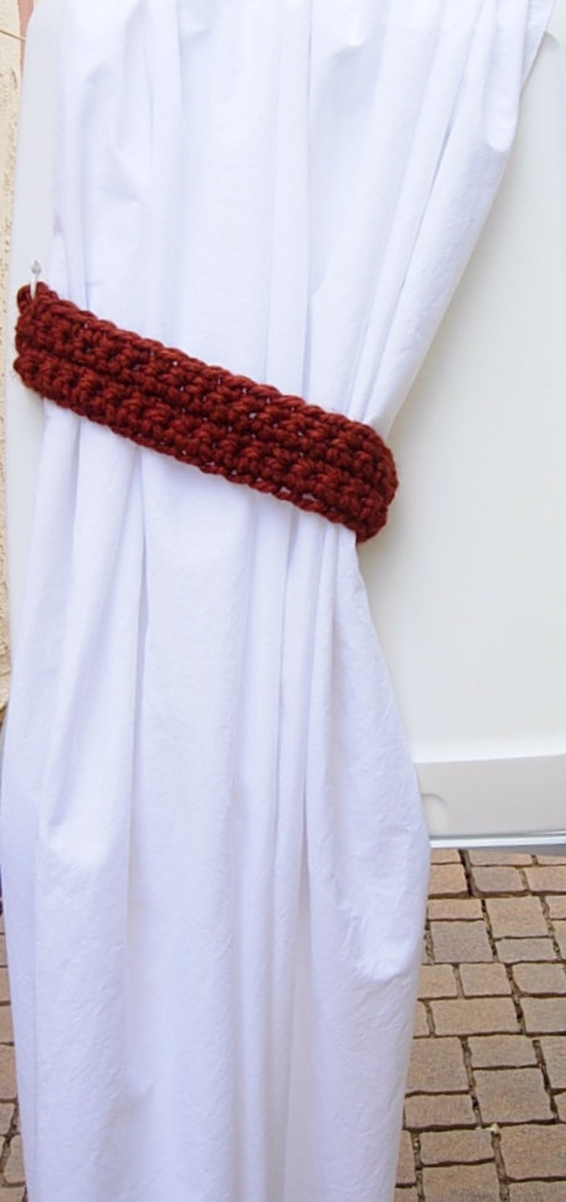 Ready to Ship in 2 Days Basic Thick Crochet Knit Simple One Pair of Dark Burnt Orange Curtain Tie Backs Rust Drapery Tiebacks for Drapes