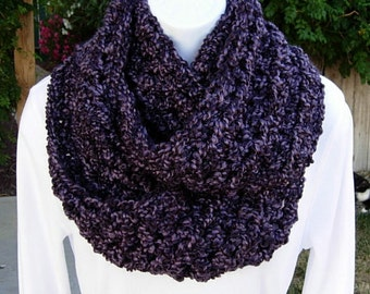 SCARF INFINITY LOOP Cowl Dark Purple Black Thick Bulky Super Soft Silky Crochet Knit Eternity Circle, Neck Warmer..Ready to Ship in 3 Days