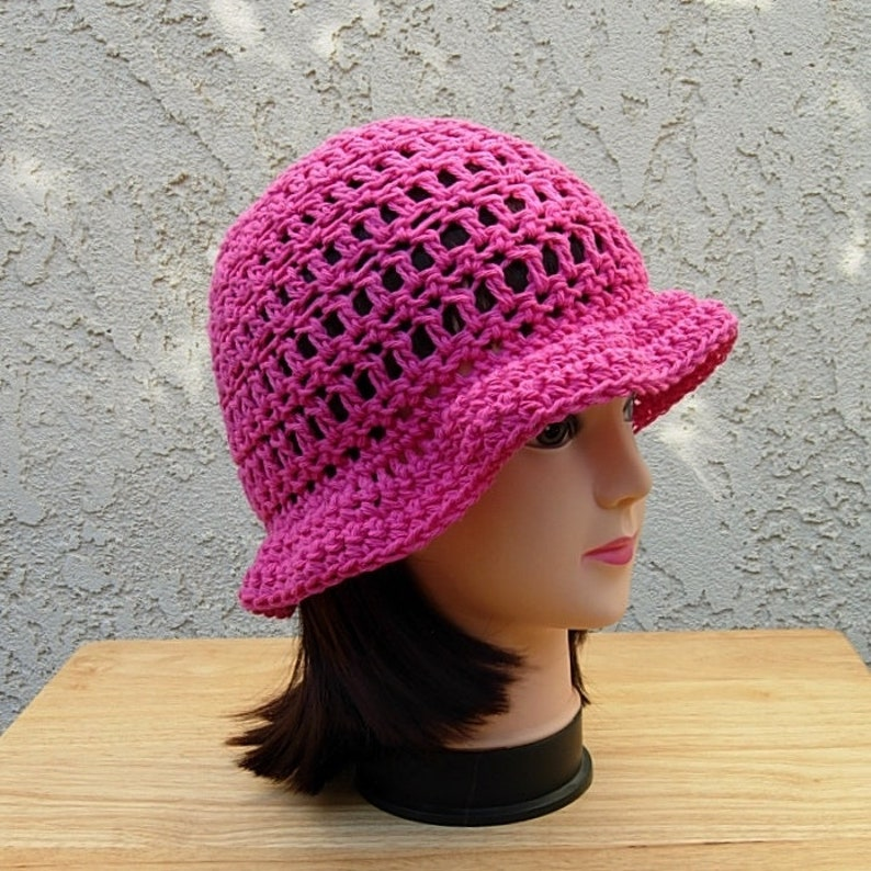 6ae6a55083d Women s Hot Pink Summer Sun Hat Lightweight Cotton