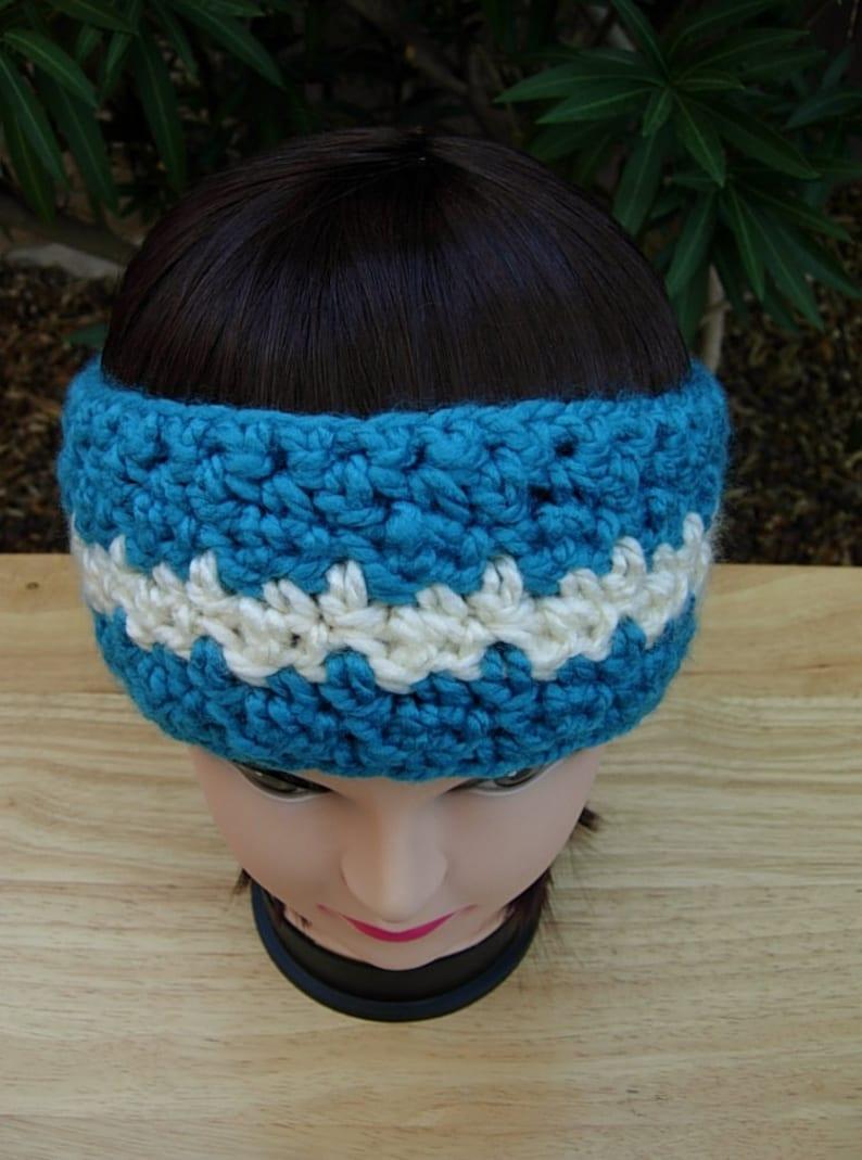 lacy hand crocheted dark country blue HeadbandEar Warmer