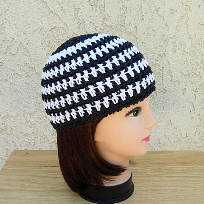 ac5a6868000 White and Off Black Summer Beanie Cotton Striped Skull Cap