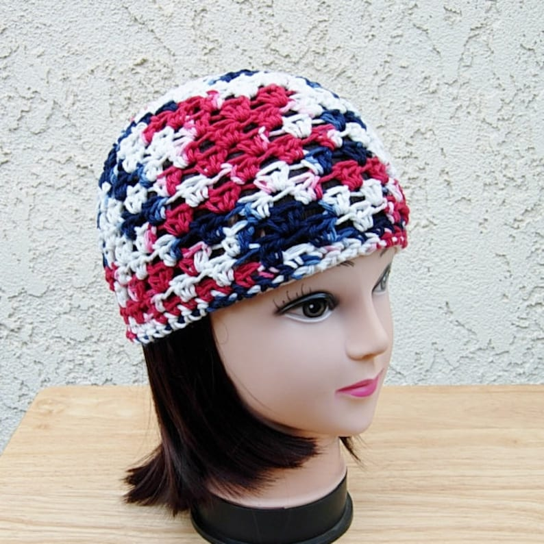 9921e3e25ed Red White and Blue Summer Beanie 100% Cotton Lacy Skull Cap
