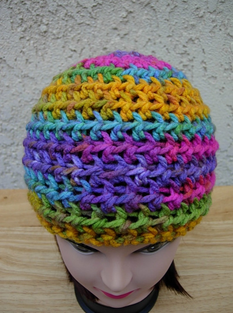 Ready to Ship in 2 Days Colorful Purple Yellow Blue Pink Crochet Beanie Hat Soft Acrylic Warm Winter Women/'s Simple Knit Striped Skull Cap