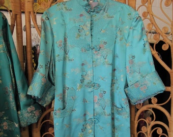 Vintage Chinese Silk Robe Turquoise Aqua Satin Kimono Robe Mandarin Brocade  Silk Coat Lounge Coat 50s Asian Robe 4864b9f28