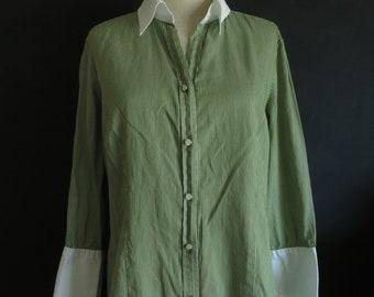 dadcbd12c0 Green Pinstripe Talbot's Blouse Vintage Cotton Shirt Casual Office Work Top  Size Large