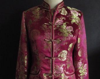 S Chinese Satin Brocade Jacket Asian Mandarin Jacket w/ Frog Closure Wine Burgundy Maroon