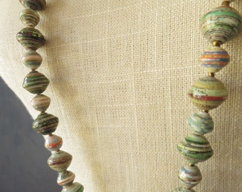 Fine Paper Bead Necklace Long Victorian Style Paper Bead Necklace Upcycled Handcrafted