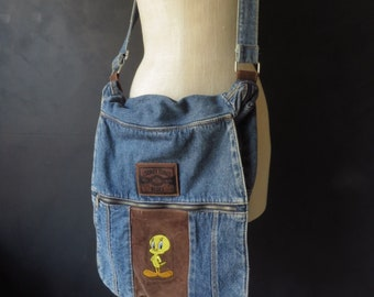 Denim Shoulder Bag Tweety Bird Looney Tunes Blues Suede & Denim Messenger Bag Diaper Bag Crossbody Bag