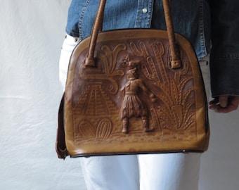 Vintage Mexican Purse Tooled Leather Mayan Figure Mayan Calendar Mexico 1940s Top Handle Handbag Ethnic Boho Handmade Leather Gift Purse