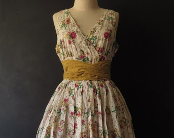 34ac53cfb46 50s Floral Day Dress Vintage Cotton Sundress Yellow Pink Size Large