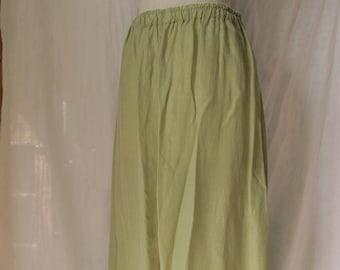 Bright Green Skirt Rayon Handmade Vintage Midi Skirt Chartreuse Size Large
