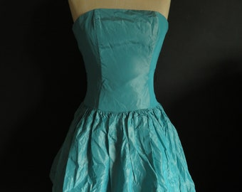 Turquoise Taffeta Mini Dress Jessica McClintock Gunne Sax Iridescent Taffeta Strapless Bustier Petite Mini Dress Size 34