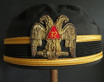 917fe1bce98 Antique Mason Cap 32 Degree Masonic Scottish Rite Double Eagle Freemason  Pill Box Hat Cloth   Bullion Embroidery Size 7