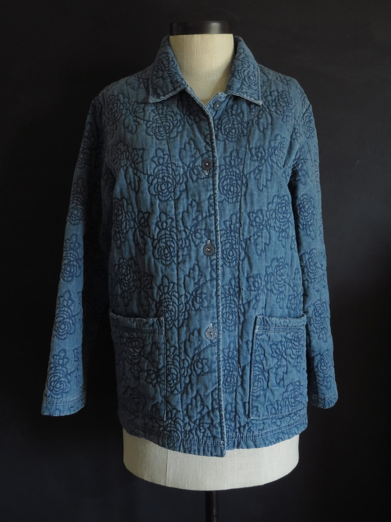 03291c9c304 Quilted Denim Coat Vintage Coldwater Creek Boxy Field Jacket | Etsy