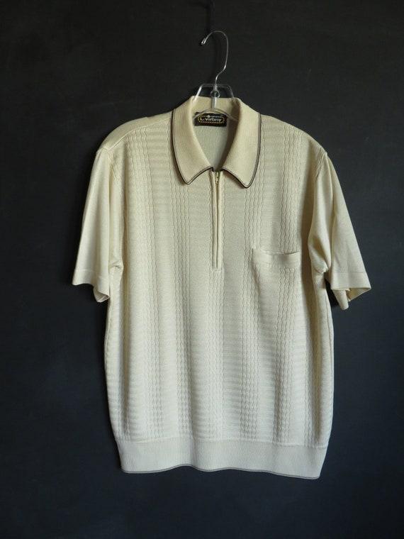 60s Rat Pack Shirt Mod Silky Sexy Knit Mid Century
