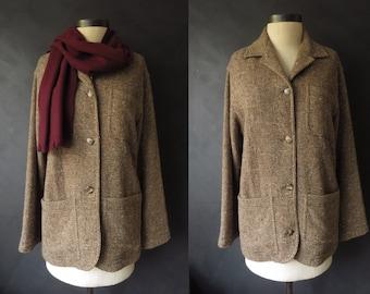80s Brown Tweed Coat Vintage Liz Claiborne Brown Wool Blazer Donegal Tweed Jacket Size 8 Medium