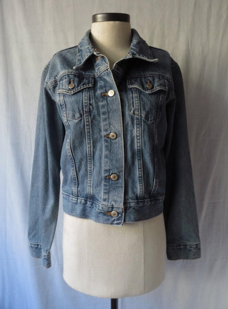 aea163ca5f 90s London Jean Jacket Faded Denim Jacket Button Up 100%