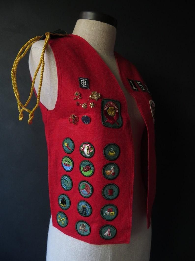 60s Girl Scout Merit Badge Vest Adult Size Vintage Scouting Insignia Red Felt Vest Senior Cadette Scout