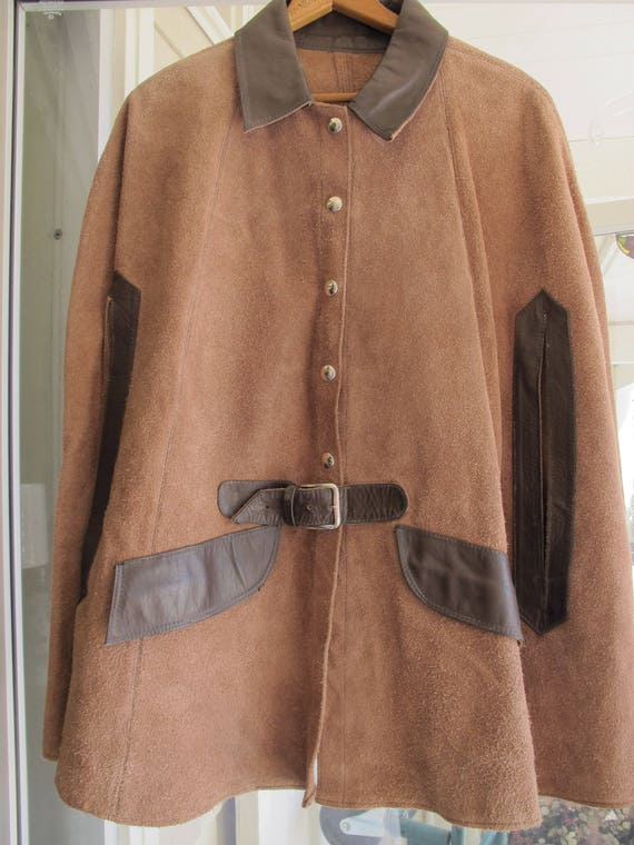 60s Vintage Suede Cape Belted Snap Front 70s Brown
